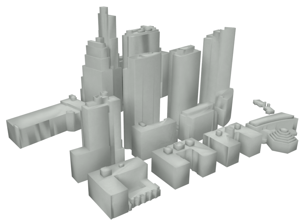 rendered 3d city model of New York City